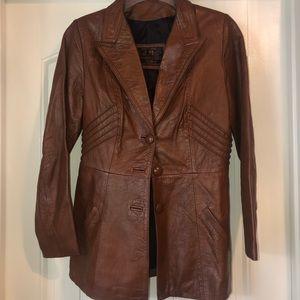 Vintage Cognac Leather Peplum Jacket